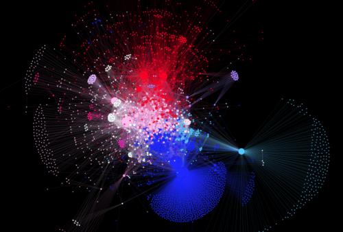 Eine beispielhafte Visualisierung einer Netzwerkanalyse: für manch historischen Geisteswissenschaftler eine Provokation. Copyright: Von SlvrKy - Eigenes Werk, CC BY-SA 4.0, https://commons.wikimedia.org/w/index.php?curid=50571810